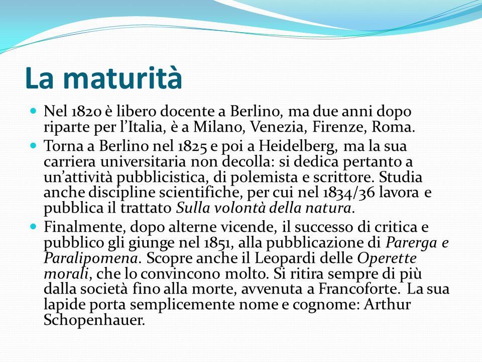 La maturità Nel 1820 è libero docente a Berlino, ma due anni dopo riparte per lItalia, è a Milano, Venezia, Firenze, Roma. Torna a Berlino nel 1825 e