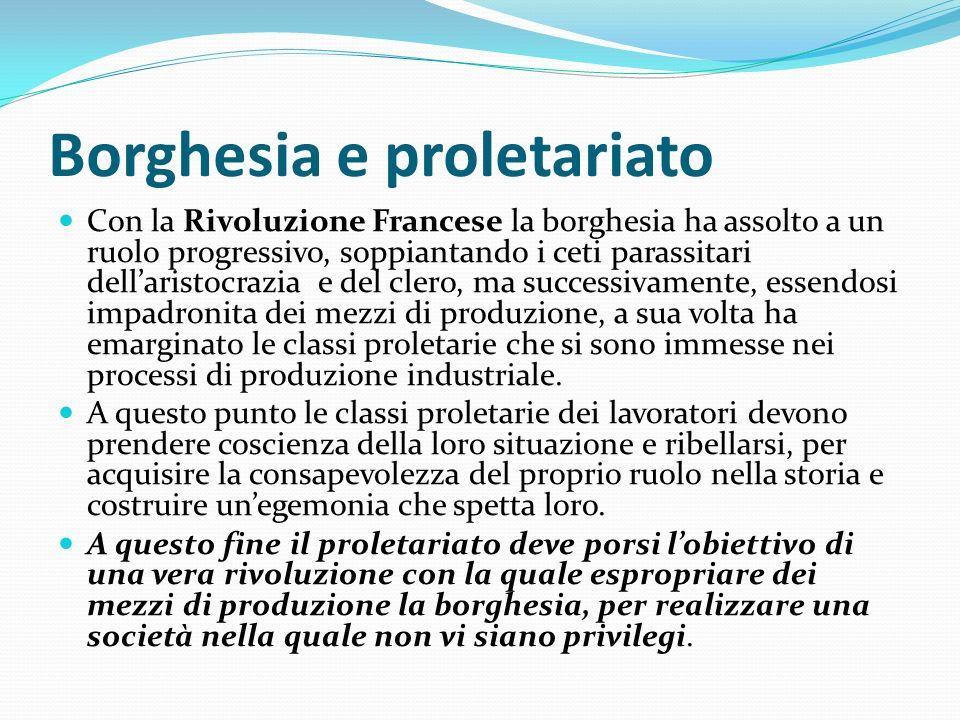 Borghesia e proletariato Con la Rivoluzione Francese la borghesia ha assolto a un ruolo progressivo, soppiantando i ceti parassitari dellaristocrazia