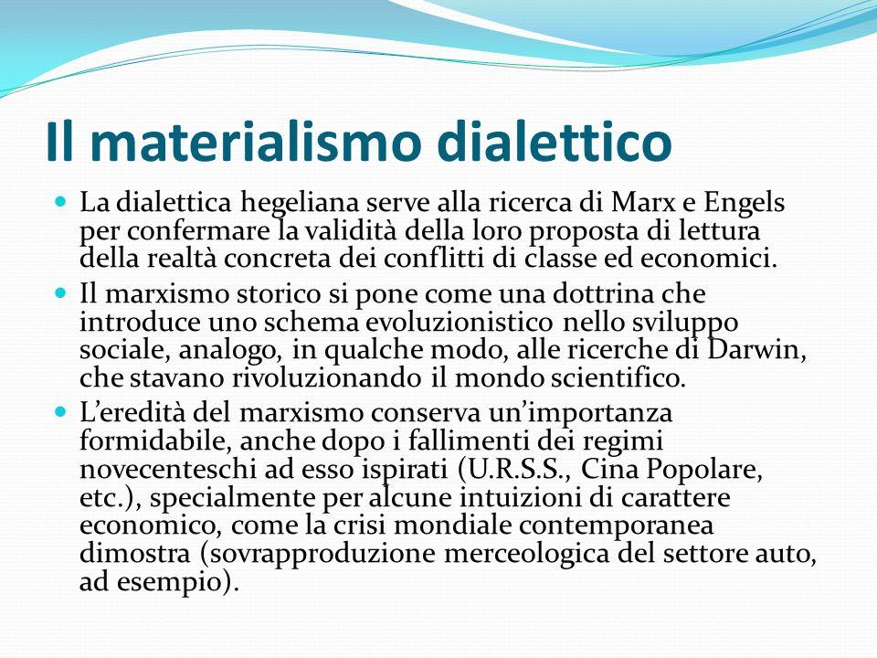 Il materialismo dialettico La dialettica hegeliana serve alla ricerca di Marx e Engels per confermare la validità della loro proposta di lettura della