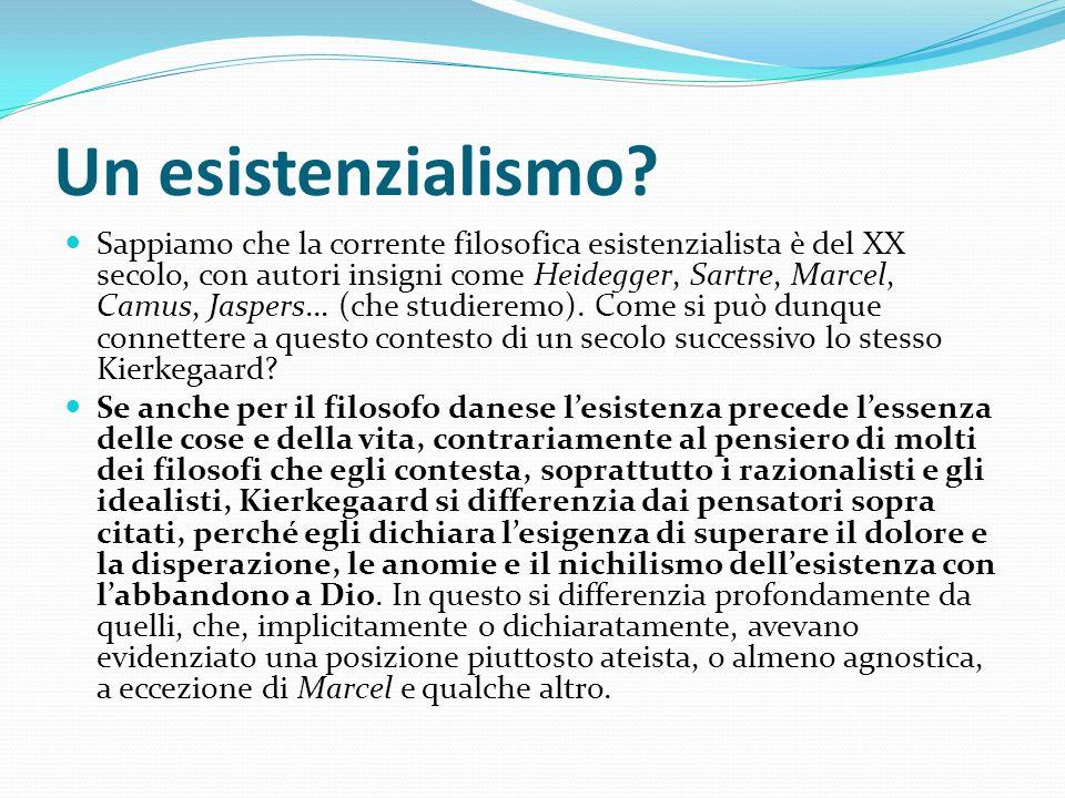 Un esistenzialismo? Sappiamo che la corrente filosofica esistenzialista è del XX secolo, con autori insigni come Heidegger, Sartre, Marcel, Camus, Jas