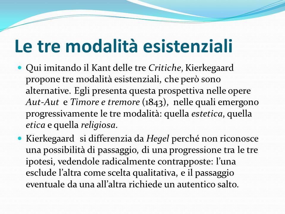 Le tre modalità esistenziali Qui imitando il Kant delle tre Critiche, Kierkegaard propone tre modalità esistenziali, che però sono alternative. Egli p