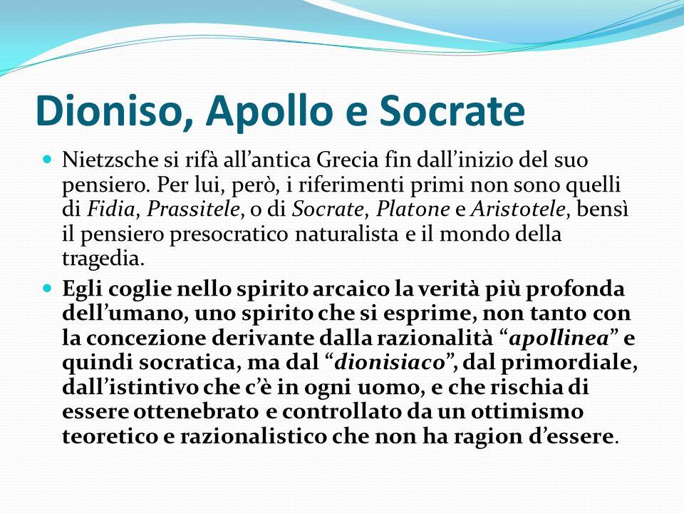 Dioniso, Apollo e Socrate Nietzsche si rifà allantica Grecia fin dallinizio del suo pensiero. Per lui, però, i riferimenti primi non sono quelli di Fi