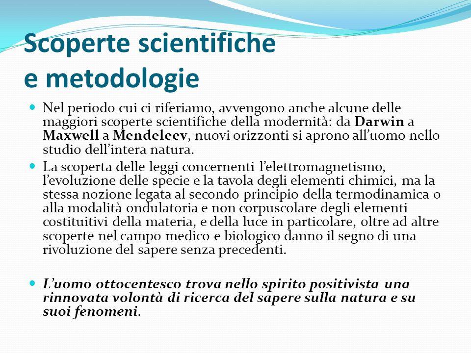 Scoperte scientifiche e metodologie Nel periodo cui ci riferiamo, avvengono anche alcune delle maggiori scoperte scientifiche della modernità: da Darw