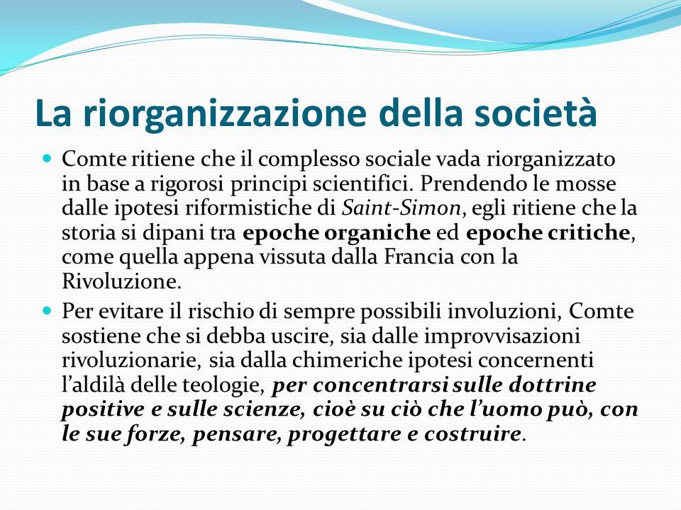 La riorganizzazione della società Comte ritiene che il complesso sociale vada riorganizzato in base a rigorosi principi scientifici. Prendendo le moss