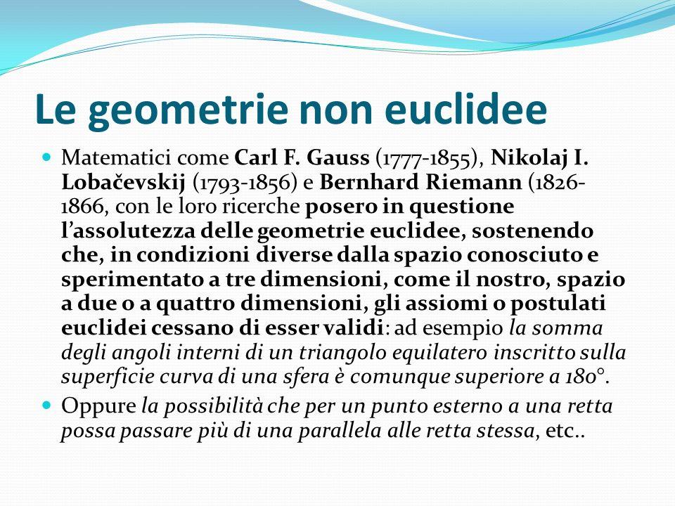 Le geometrie non euclidee Matematici come Carl F. Gauss (1777-1855), Nikolaj I. Lobačevskij (1793-1856) e Bernhard Riemann (1826- 1866, con le loro ri