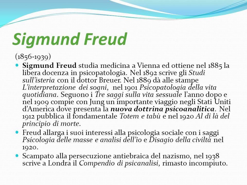 Sigmund Freud (1856-1939) Sigmund Freud studia medicina a Vienna ed ottiene nel 1885 la libera docenza in psicopatologia. Nel 1892 scrive gli Studi su