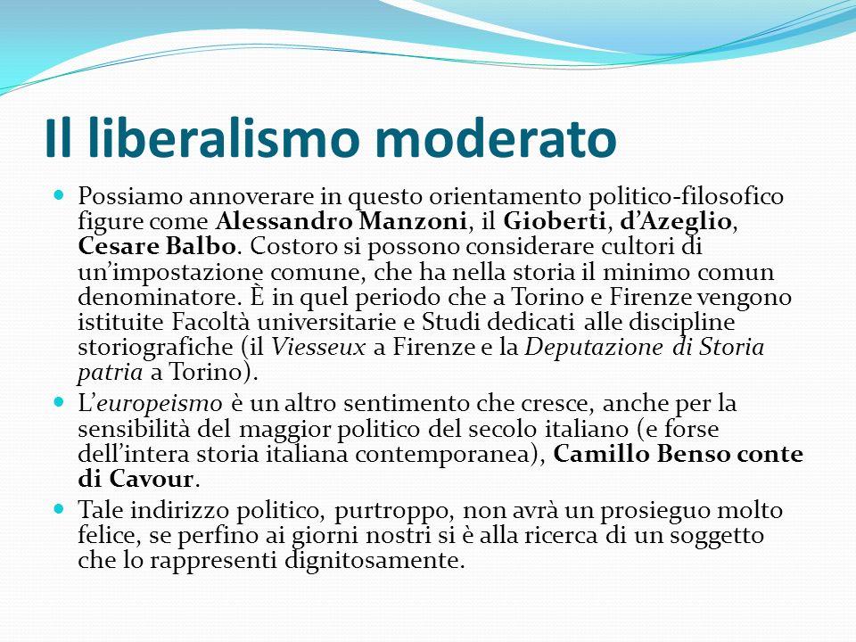 Il liberalismo moderato Possiamo annoverare in questo orientamento politico-filosofico figure come Alessandro Manzoni, il Gioberti, dAzeglio, Cesare B