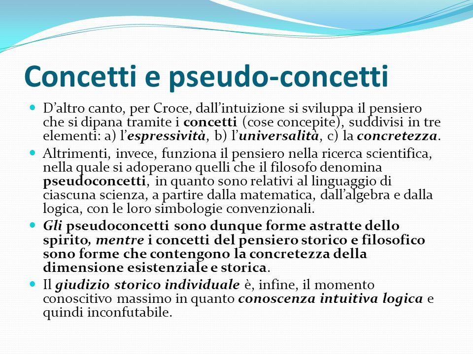 Concetti e pseudo-concetti Daltro canto, per Croce, dallintuizione si sviluppa il pensiero che si dipana tramite i concetti (cose concepite), suddivis