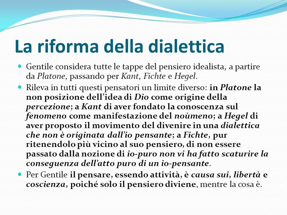 La riforma della dialettica Gentile considera tutte le tappe del pensiero idealista, a partire da Platone, passando per Kant, Fichte e Hegel. Rileva i