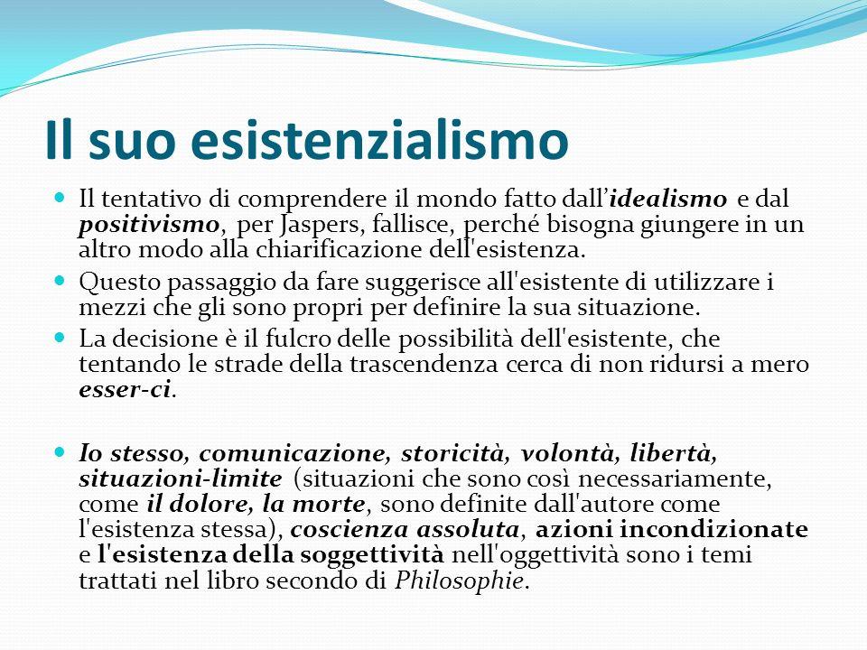 Il suo esistenzialismo Il tentativo di comprendere il mondo fatto dallidealismo e dal positivismo, per Jaspers, fallisce, perché bisogna giungere in u