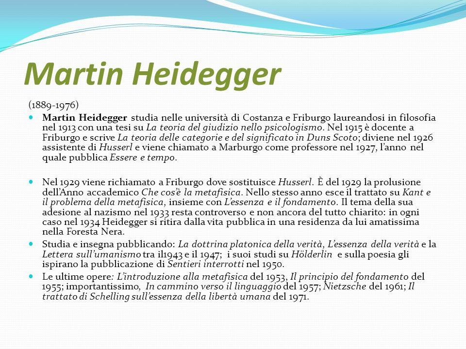 Martin Heidegger (1889-1976) Martin Heidegger studia nelle università di Costanza e Friburgo laureandosi in filosofia nel 1913 con una tesi su La teor