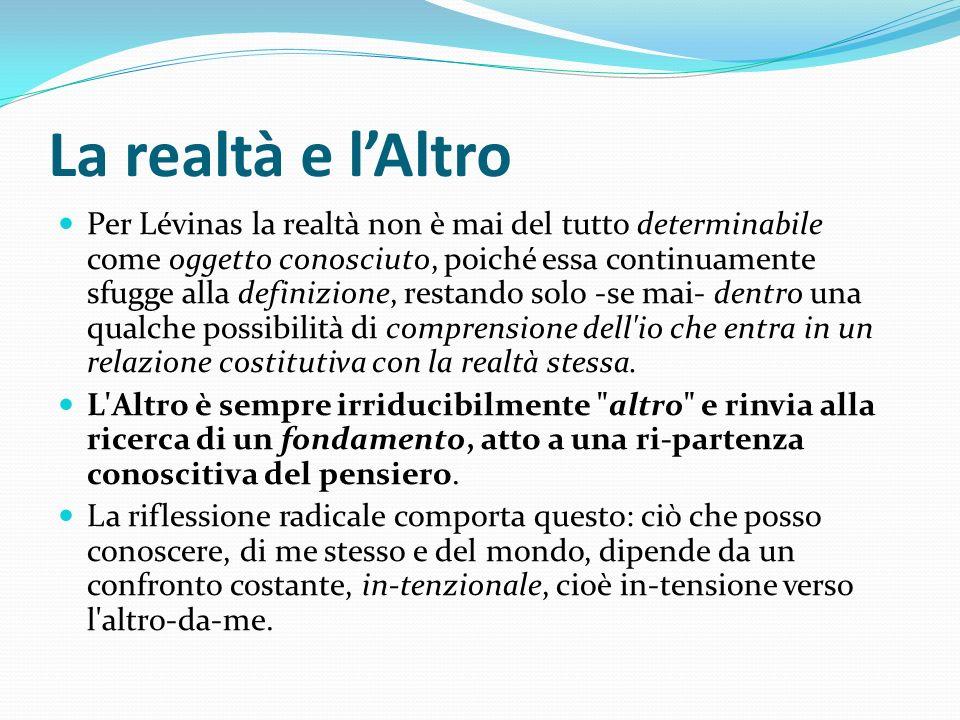 La realtà e lAltro Per Lévinas la realtà non è mai del tutto determinabile come oggetto conosciuto, poiché essa continuamente sfugge alla definizione,