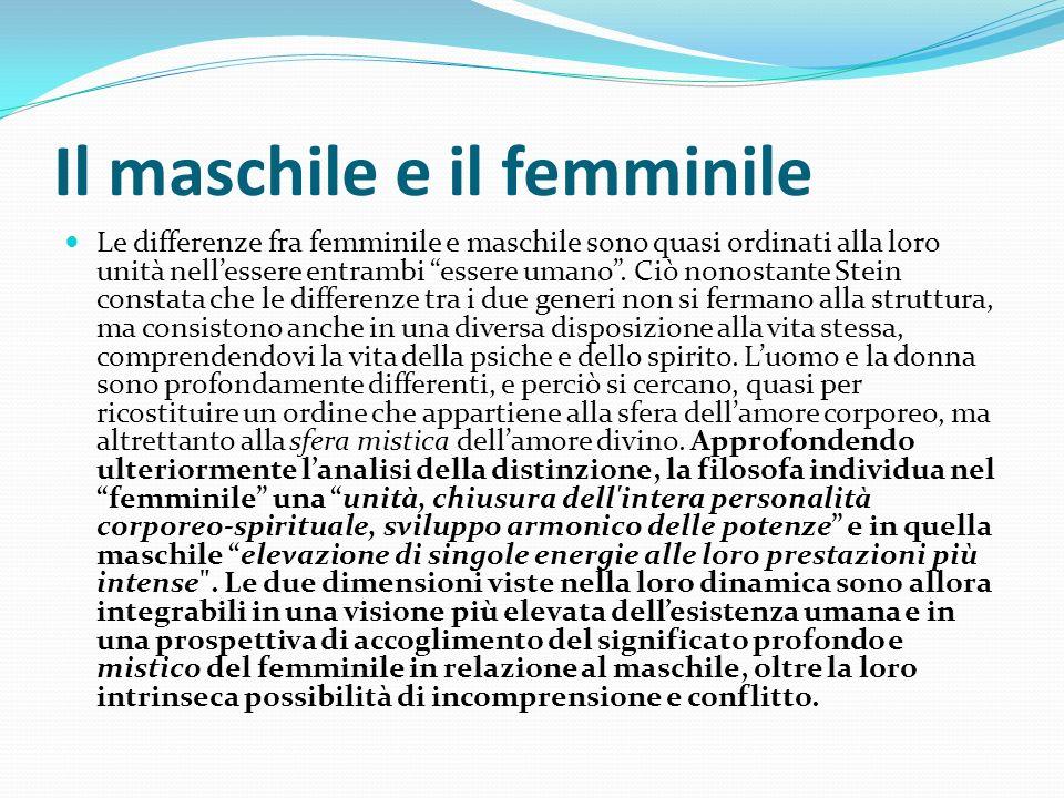 Il maschile e il femminile Le differenze fra femminile e maschile sono quasi ordinati alla loro unità nellessere entrambi essere umano. Ciò nonostante