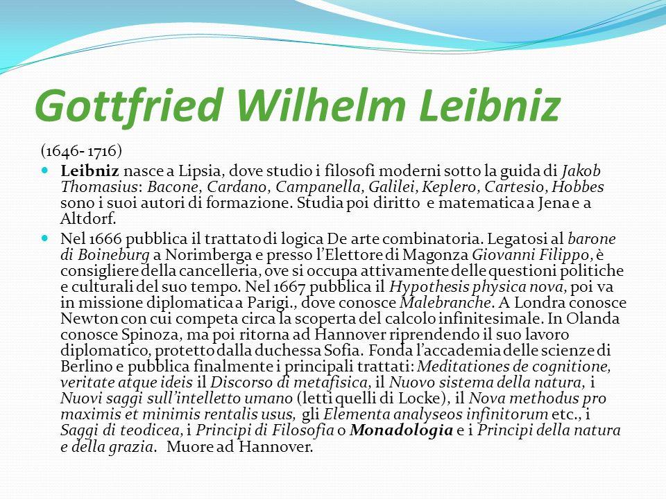 Gottfried Wilhelm Leibniz (1646- 1716) Leibniz nasce a Lipsia, dove studio i filosofi moderni sotto la guida di Jakob Thomasius: Bacone, Cardano, Camp