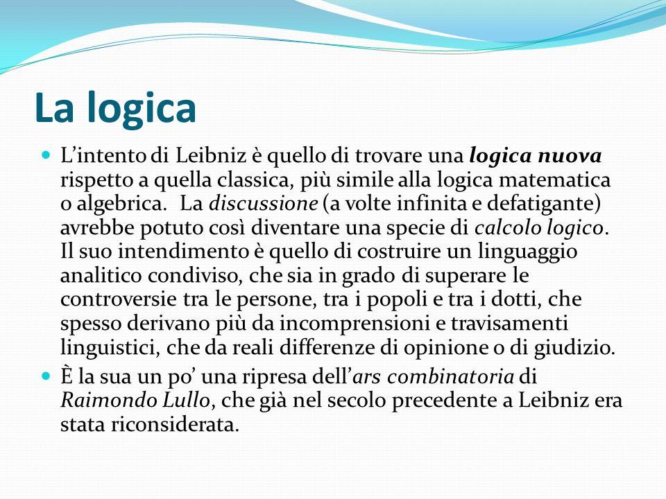 La logica Lintento di Leibniz è quello di trovare una logica nuova rispetto a quella classica, più simile alla logica matematica o algebrica. La discu