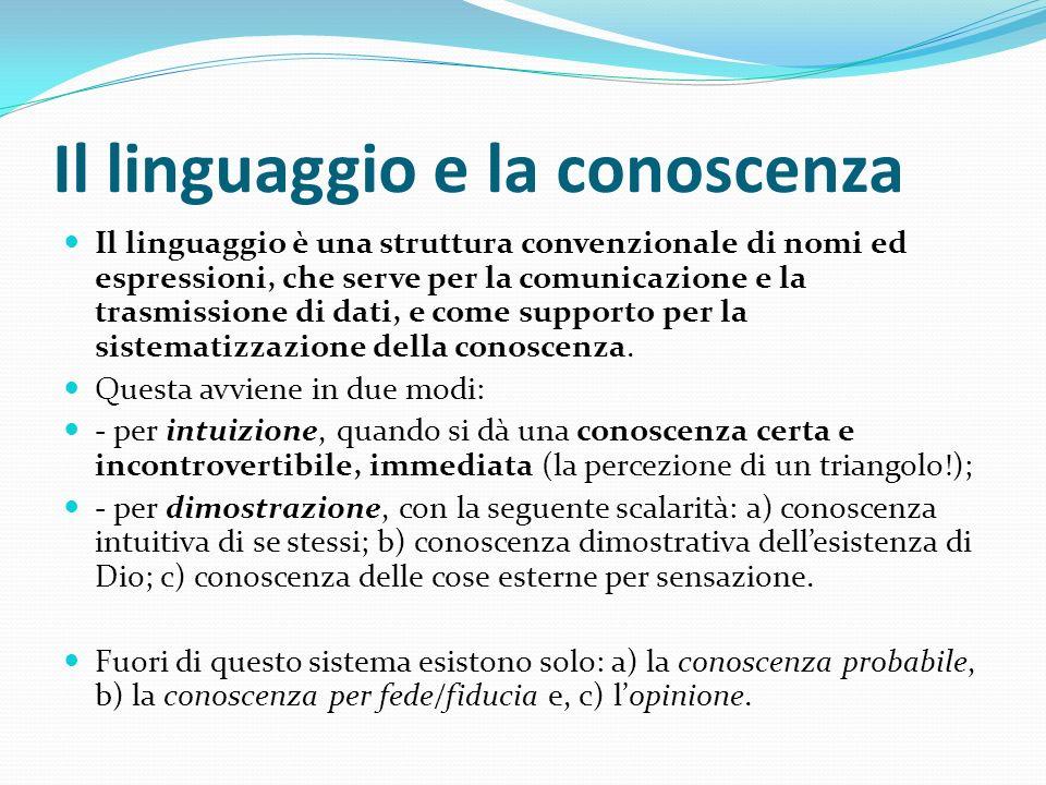 Il linguaggio e la conoscenza Il linguaggio è una struttura convenzionale di nomi ed espressioni, che serve per la comunicazione e la trasmissione di
