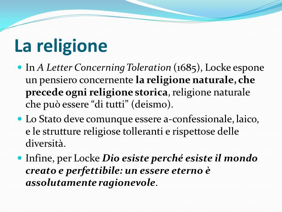 La religione In A Letter Concerning Toleration (1685), Locke espone un pensiero concernente la religione naturale, che precede ogni religione storica,