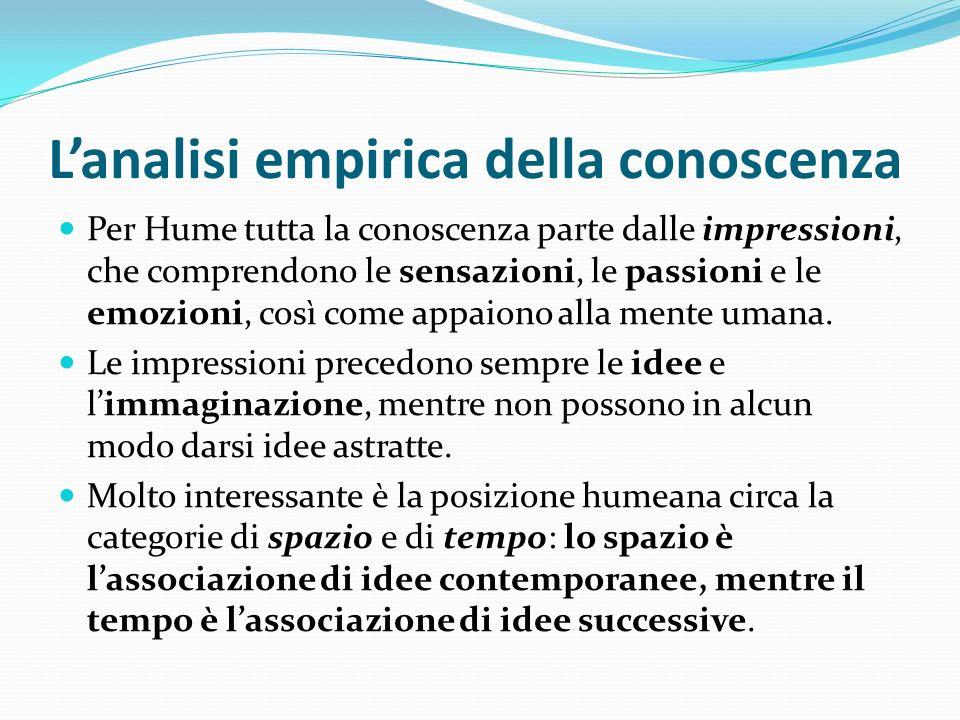 Lanalisi empirica della conoscenza Per Hume tutta la conoscenza parte dalle impressioni, che comprendono le sensazioni, le passioni e le emozioni, cos