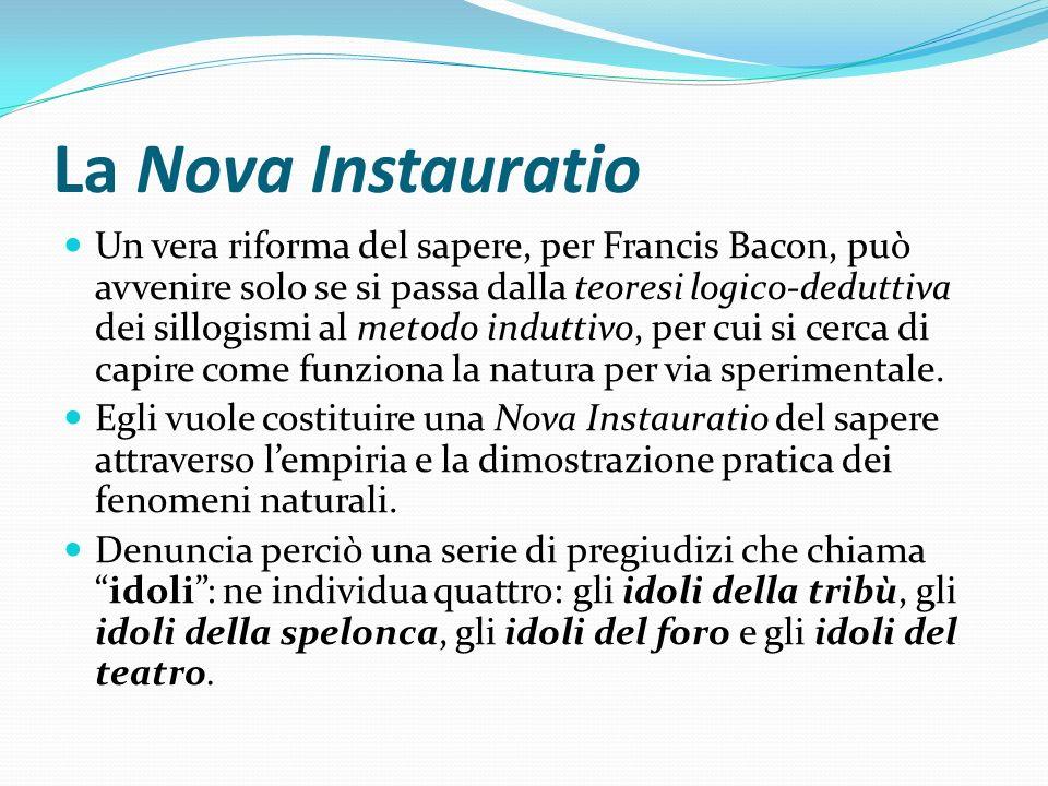 La Nova Instauratio Un vera riforma del sapere, per Francis Bacon, può avvenire solo se si passa dalla teoresi logico-deduttiva dei sillogismi al meto