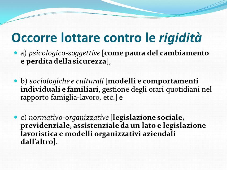 Occorre lottare contro le rigidità a) psicologico-soggettive [come paura del cambiamento e perdita della sicurezza], b) sociologiche e culturali [mode
