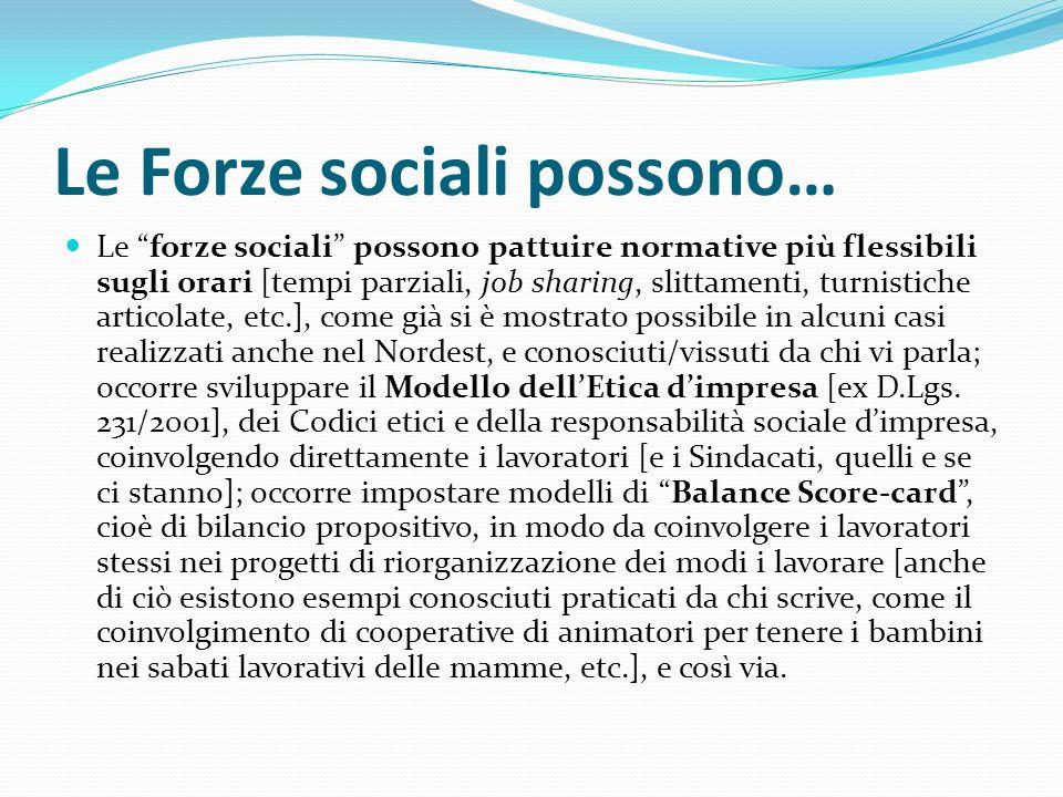 Le Forze sociali possono… Le forze sociali possono pattuire normative più flessibili sugli orari [tempi parziali, job sharing, slittamenti, turnistich