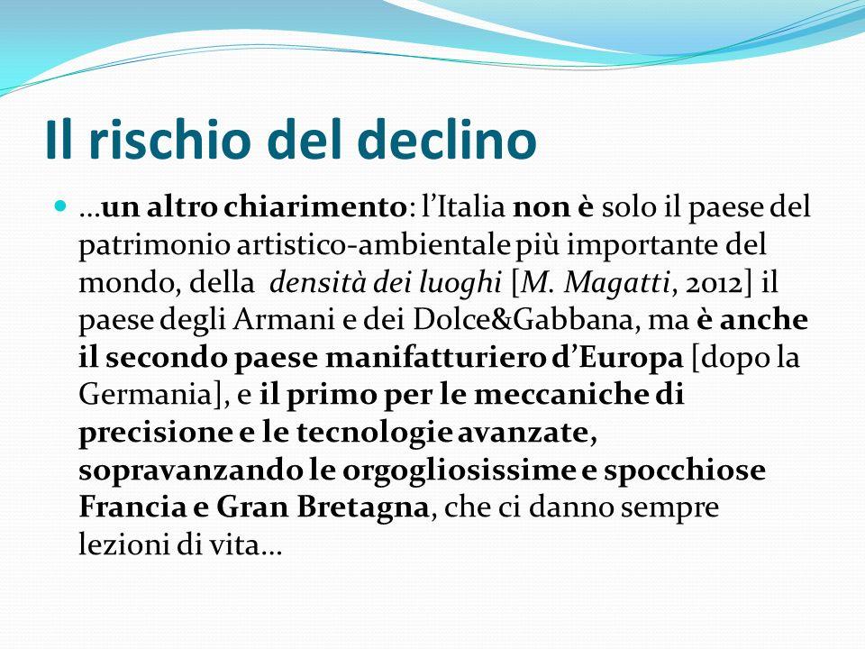 Il rischio del declino …un altro chiarimento: lItalia non è solo il paese del patrimonio artistico-ambientale più importante del mondo, della densità