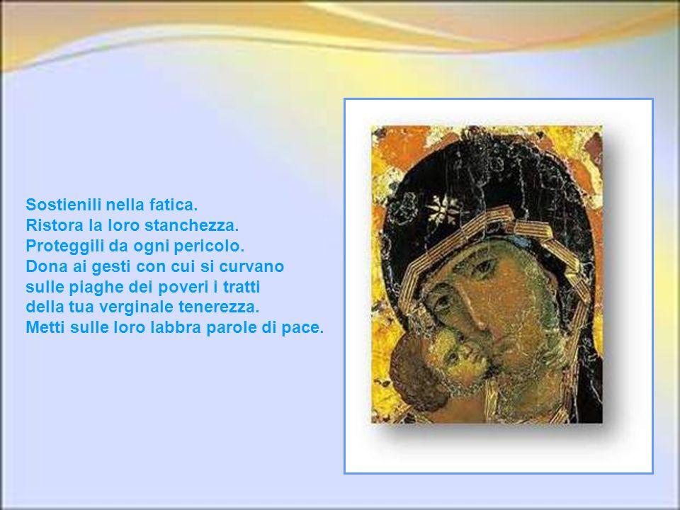 Santa Maria, donna missionaria, noi ti imploriamo per tutti coloro che avendo avvertito, più degli altri, il fascino struggente di quella icona che ti