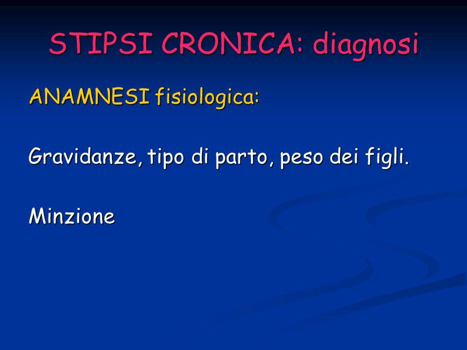 STIPSI CRONICA: diagnosi ANAMNESI Sensazione di difficoltoso o mancato svuotamento dellampolla Utilizzo di supposte o clismi, posizioni particolari per favorire la defecazione, stimolo digitale o svuotamento manuale