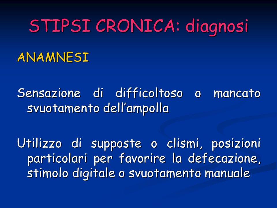 STIPSI CRONICA: diagnosi ESAME CLINICO ESAME CLINICO Esame addominale Area perianale fistole, emorroidi Esplorazione rettale fecalomi, stenosi, masse endorettali