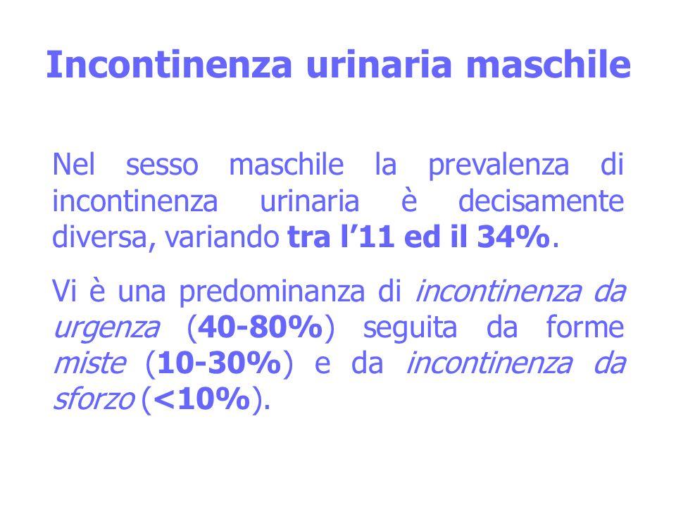 Incontinenza urinaria maschile Nel sesso maschile la prevalenza di incontinenza urinaria è decisamente diversa, variando tra l11 ed il 34%. Vi è una p