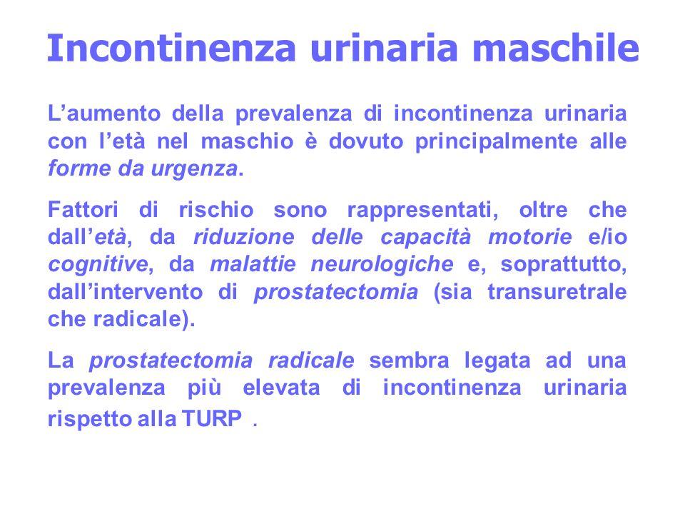 Incontinenza urinaria maschile Laumento della prevalenza di incontinenza urinaria con letà nel maschio è dovuto principalmente alle forme da urgenza.