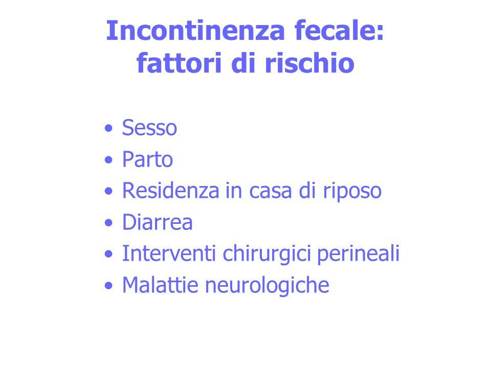 Incontinenza fecale: fattori di rischio Sesso Parto Residenza in casa di riposo Diarrea Interventi chirurgici perineali Malattie neurologiche