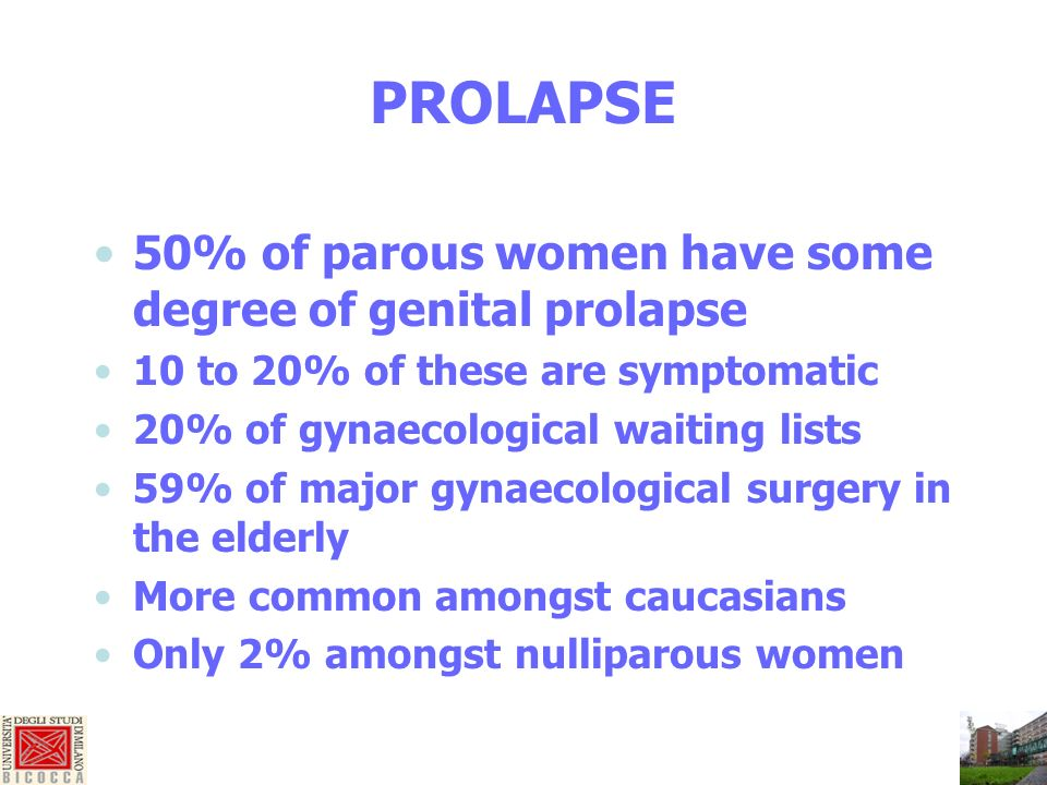 PROLAPSE 50% of parous women have some degree of genital prolapse 10 to 20% of these are symptomatic 20% of gynaecological waiting lists 59% of major gynaecological surgery in the elderly More common amongst caucasians Only 2% amongst nulliparous women