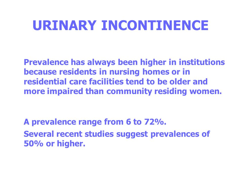 URINARY INCONTINENCE in athletes women Nygaard et al (1994) 158 athletes, mean age 19.9 years all nulliparous 28% urinary incontinence during sport activities (2/3 IU more often that rarely) 67% gymnastics 66% basketball 50% tennis 10% swimming 0% golf