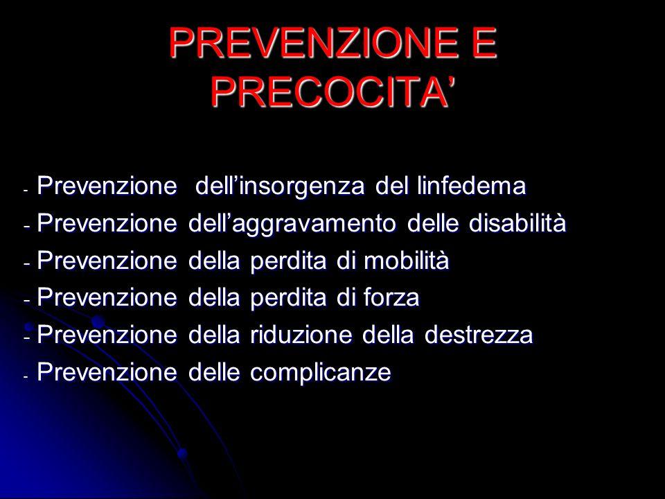 PREVENZIONE E PRECOCITA - Prevenzione dellinsorgenza del linfedema - Prevenzione dellaggravamento delle disabilità - Prevenzione della perdita di mobi