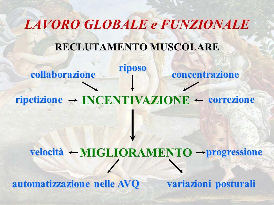 LAVORO GLOBALE e FUNZIONALE RECLUTAMENTO MUSCOLARE INCENTIVAZIONE collaborazioneconcentrazione riposo correzioneripetizione MIGLIORAMENTOprogressione
