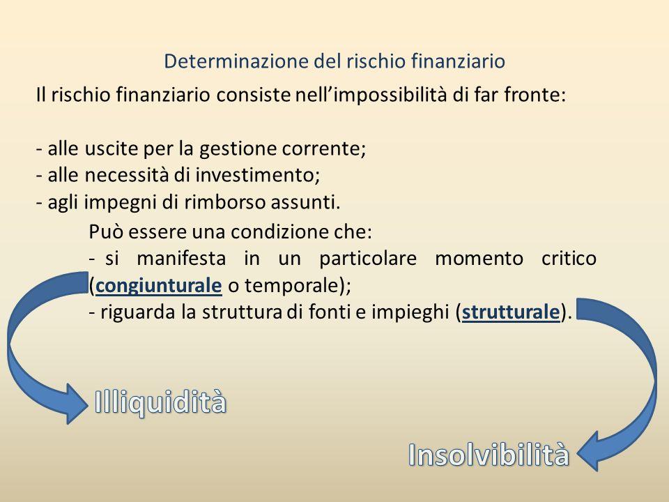 Determinazione del rischio finanziario Il rischio finanziario consiste nellimpossibilità di far fronte: - alle uscite per la gestione corrente; - alle
