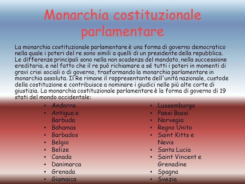 Monarchia costituzionale parlamentare La monarchia costituzionale parlamentare è una forma di governo democratico nella quale i poteri del re sono simili a quelli di un presidente della repubblica.