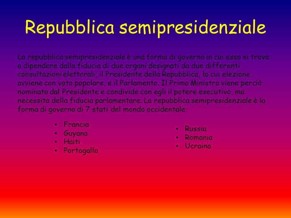 Repubblica semipresidenziale La repubblica semipresidenziale è una forma di governo in cui esso si trova a dipendere dalla fiducia di due organi designati da due differenti consultazioni elettorali, il Presidente della Repubblica, la cui elezione avviene con voto popolare, e il Parlamento.