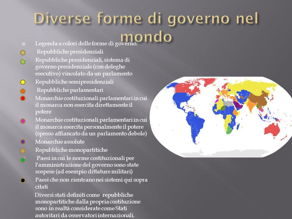 Da questa cartina così variopinta possiamo avere una immediata conferma della molteplicità di forme di governo esistenti al mondo.