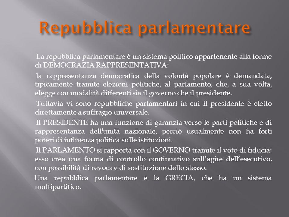 La repubblica parlamentare è un sistema politico appartenente alla forme di DEMOCRAZIA RAPPRESENTATIVA: la rappresentanza democratica della volontà po