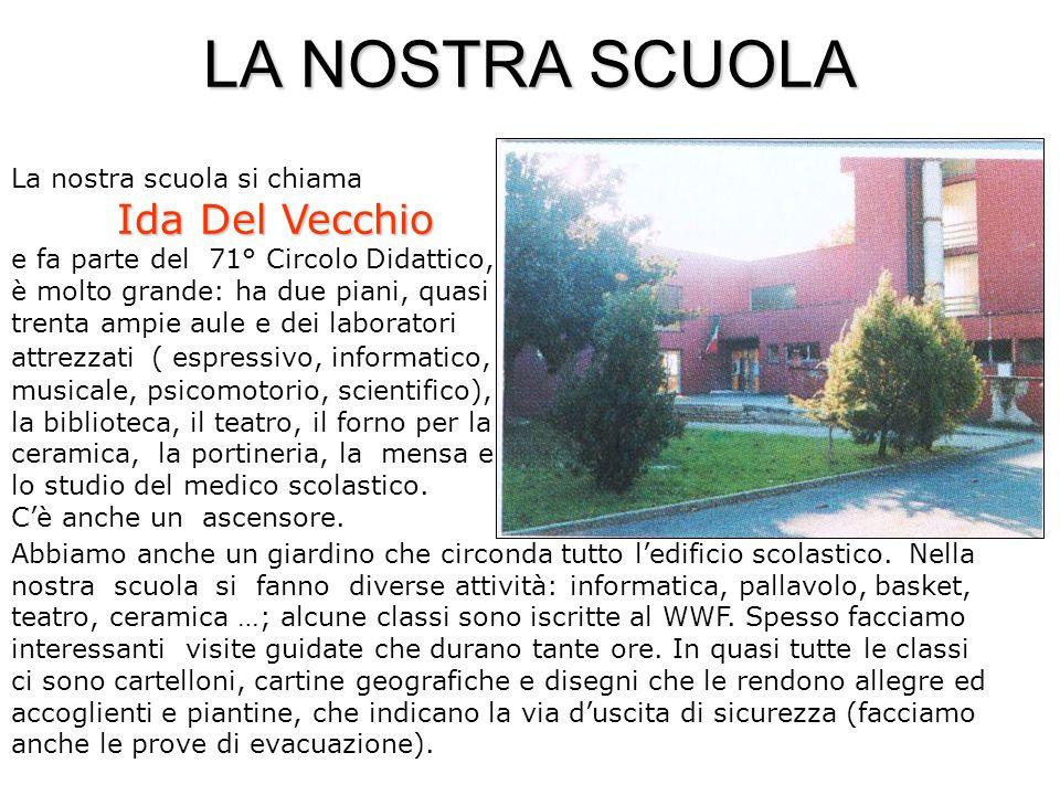 LA NOSTRA SCUOLA Ida Del Vecchio La nostra scuola si chiama Ida Del Vecchio e fa parte del 71° Circolo Didattico, è molto grande: ha due piani, quasi