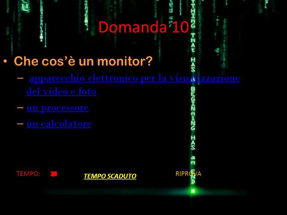 Domanda 10 Che cosè un monitor? – apparecchio elettronico per la visualizzazione del video e fotoapparecchio elettronico per la visualizzazione del vi