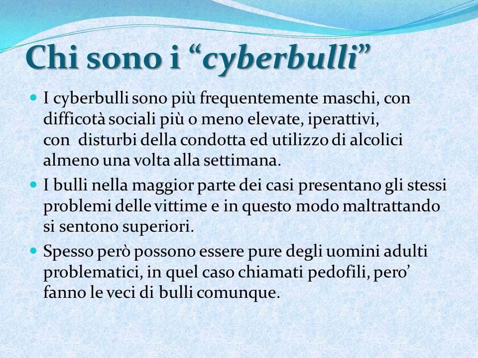 Chi sono i cyberbulli I cyberbulli sono più frequentemente maschi, con difficotà sociali più o meno elevate, iperattivi, con disturbi della condotta e