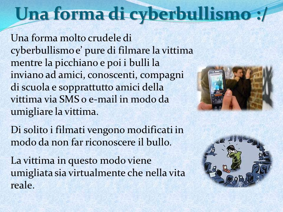 Amanda Todd http://www.youtube.com/watch?v=jCO8hAFbU1k http://www.spazioasperger.it/forum/discussion/947/c yber-bullismo-il-suicidio-di-amanda-todd-15anni/p1 http://www.spazioasperger.it/forum/discussion/947/c yber-bullismo-il-suicidio-di-amanda-todd-15anni/p1 Il 13 Ottobre 2012, dopo già due tentativi di suicidio (bevendo candeggina o tagliandosi) Amanda Todd si e suicidata.