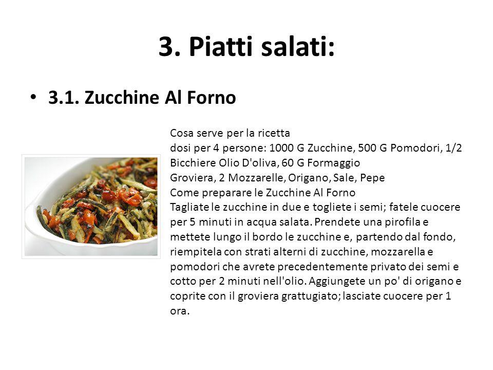 3. Piatti salati: 3.1. Zucchine Al Forno Cosa serve per la ricetta dosi per 4 persone: 1000 G Zucchine, 500 G Pomodori, 1/2 Bicchiere Olio D'oliva, 60