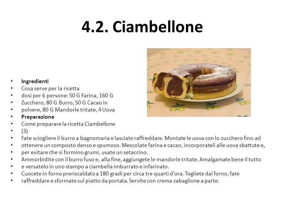 4.2. Ciambellone Ingredienti Cosa serve per la ricetta dosi per 6 persone: 50 G Farina, 160 G Zucchero, 80 G Burro, 50 G Cacao in polvere, 80 G Mandor