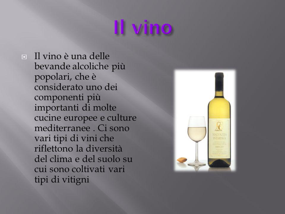 Il vino è una delle bevande alcoliche più popolari, che è considerato uno dei componenti più importanti di molte cucine europee e culture mediterranee