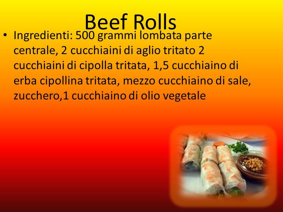 Ingredienti: 500 grammi lombata parte centrale, 2 cucchiaini di aglio tritato 2 cucchiaini di cipolla tritata, 1,5 cucchiaino di erba cipollina tritat