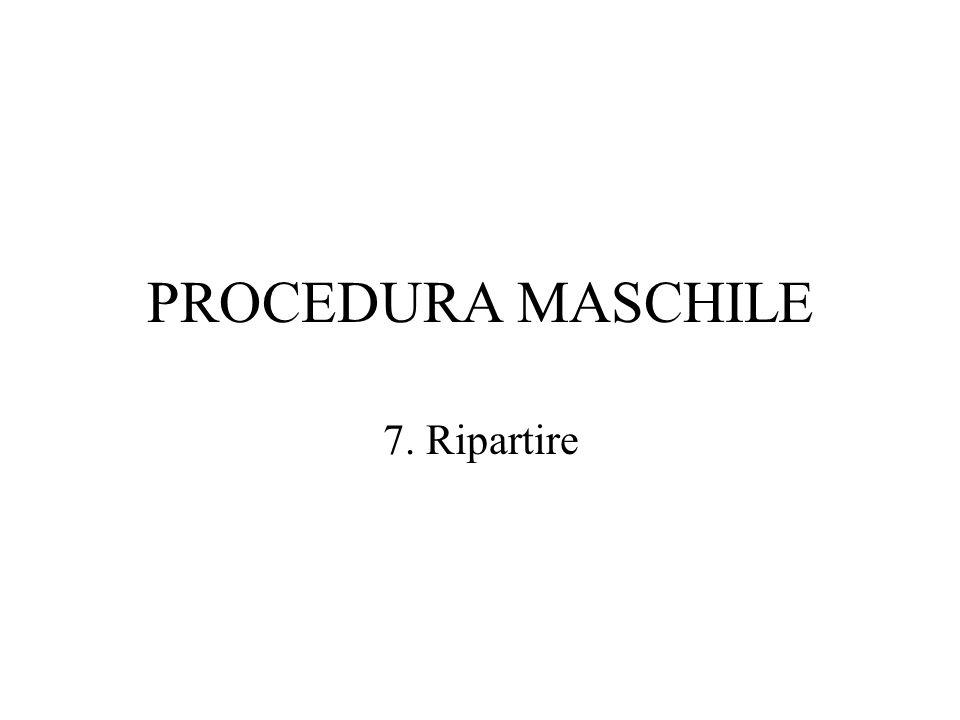 PROCEDURA MASCHILE 7. Ripartire